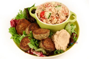 Falafel with Zahtar, Houmous and Cous Cous Salad