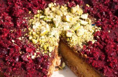 Pistachio Cherry Choc Cheesecake