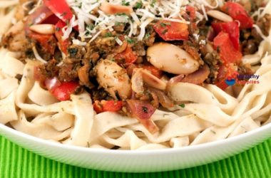 Homespun Herb Tagliatelle with Red Pesto Sauce