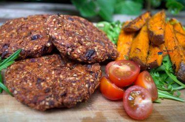 Spicy Amaranth Burgers with Harissa Sweet Potato Wedges