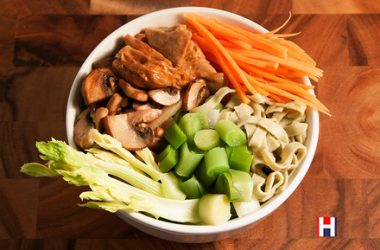 Braised Tofu Power Bowl with Bean Noodles