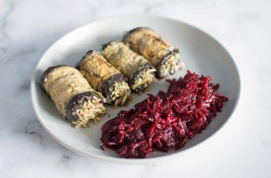 Creamy stuffed aubergine rolls