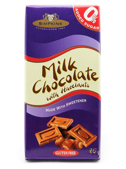 Sugar Free Milk Chocolate With Hazelnuts 75g Simpkins