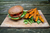 Spicy Amaranth Burgers with Harissa Sweet Potato Wedges - Recipe
