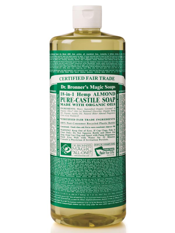 18 in 1 hemp almond pure castile soap 946ml dr bronner 39 s buy online. Black Bedroom Furniture Sets. Home Design Ideas