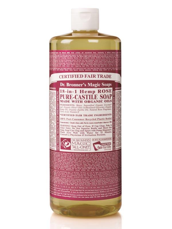 18 in 1 hemp rose castile soap 946ml dr bronner 39 s buy online. Black Bedroom Furniture Sets. Home Design Ideas