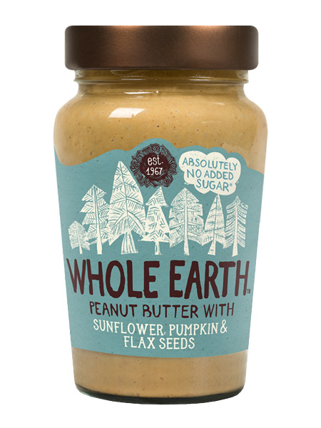 Peanut Butter with Sunflower, Pumpkin and Flax Seeds 340g (Whole Earth ...